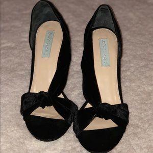 Betsy Johnson Black Velvet Heeled Shoes